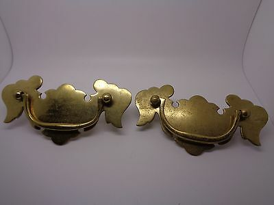 Pair Of Large Brass Handles With Screw And Blots To Back Cupboard Drop Handles