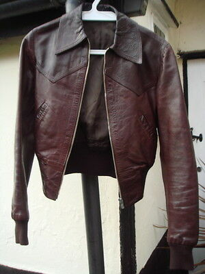 Unisex - Brown 70's leather jacket - Size 6 UK