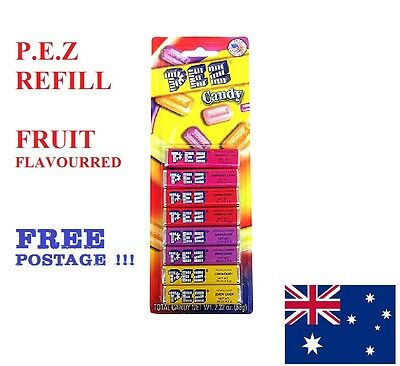 1 x PEZ  CANDY REFILL FRUIT FLAVOR 8 PACK ,SOUR ,CHOCOLATE ,COLA  FREE POSTAGE !