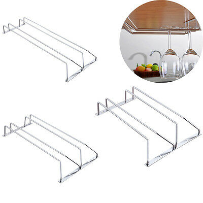 Under Counter Stainless Steel Wine Glass Cup Rack Holder Storage Hanger Shelf