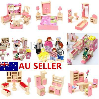 AU Wooden Furniture 6 Room Set Dolls House Family Miniature Kids Children Toy