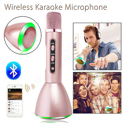 Wireless Karaoke Microphone Bluetooth Handheld Pink Music Player For PC Tablet