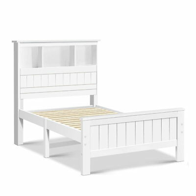 White Timber King Single Bed Frame with Bookshelf