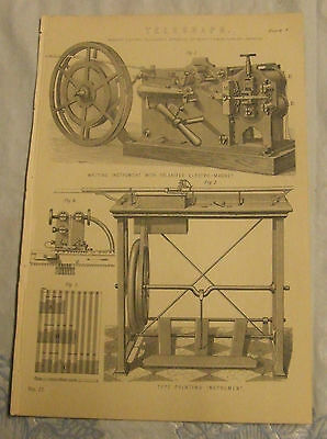 Original Telegraph Page from Vintage Book ideal Poster Morse Key