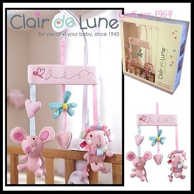 Clair De Lune Lottie & Squeek Musical Cot Mobile Baby Wind Up Mobile NEW Pink