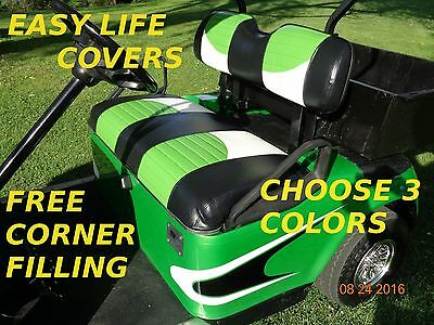 Ezgo Txt-Rxv Golf Cart Custom Seat Covers Front & Rear Combo #65 Staple On