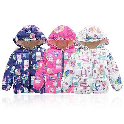 Winter Baby Kids Boys Girls Toddler Warm Floral Hooded Coat Outwear Jacket 2-7Y