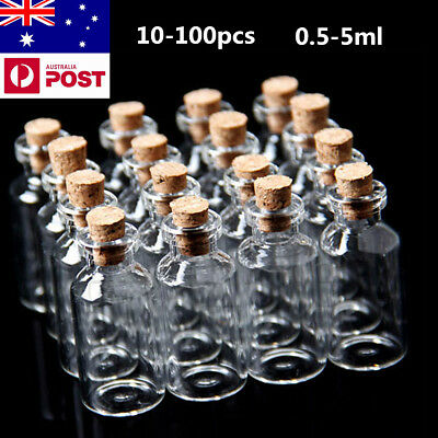 100pcs Mini Small Clear Cork Stopper Tiny Glass Vial Jars Containers Bottle NEW