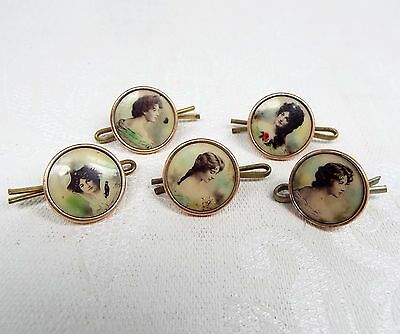 Antique Edwardian Set of 5 Gold Lithograph Print Portrait Lady Button Studs