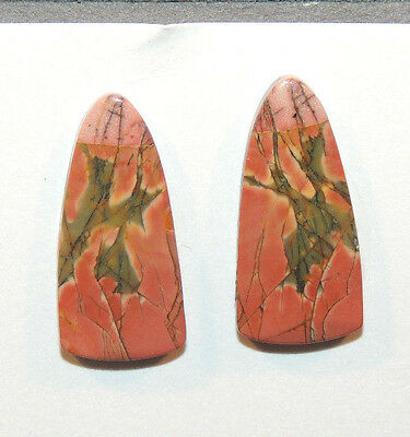 Painted Creek Jasper Cabochons 25x12mm with 4.5mm dome set of 2 (11504)
