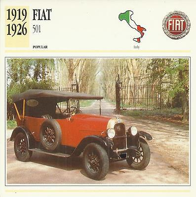FIAT 501 1919 - 1926 original 2-sided Edito collector's trading card