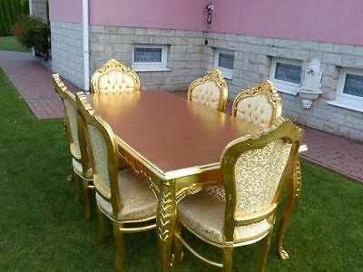 France Baroque Style  Table + 6 Chairs - Gold