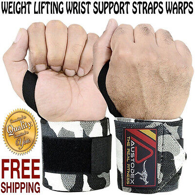 Camo Weight Lifting Gym Wrist Support Straps Wraps Bodybuilding Gloves