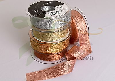 Berisfords Metallic LAME Glitter Sparkly Wedding Craft Christmas Ribbon