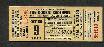 1977 Doobie Brothers Pablo Cruise Unused Full Concert Ticket Seattle WA