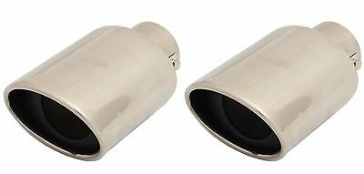 "STAINLESS STEEL 3.5""x 2.5"" OVAL CAR EXHAUST TAIL PIPE TRIM TIP RACING SPORTS"