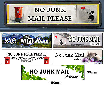 Self Adhesive Polite No Junk Mail Letterbox Leaflet Menus Flyers Door Stickers