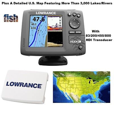 Lowrance HOOK-5 GPS/Fishfinder/Transducer Includes Cover & Lake Insight Chart