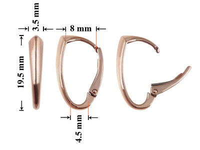 Sterling Silver Rose Gold Plated Leverback Earrings Hoops 19.5x8mm