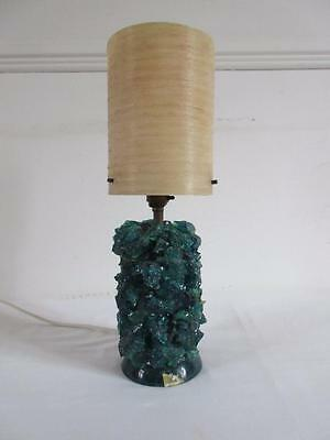 Vtg Retro 1960's/70's Blue/green Crushed Ice Shattaline Lamp Base + Cream Shade
