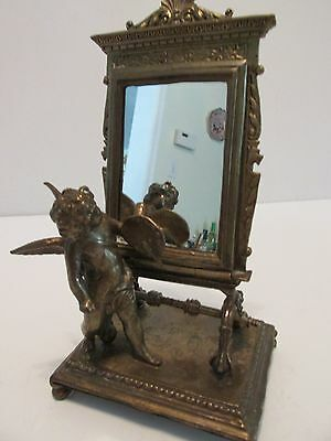 Small Cast Bronze Vanity Table Top MIRROR Cupid with Palette Painting Himself