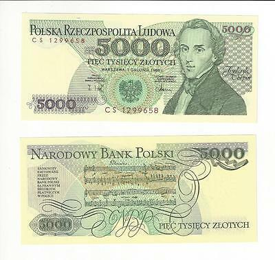 Poland 5000 Zloty Chopin  1988   Nice Unc