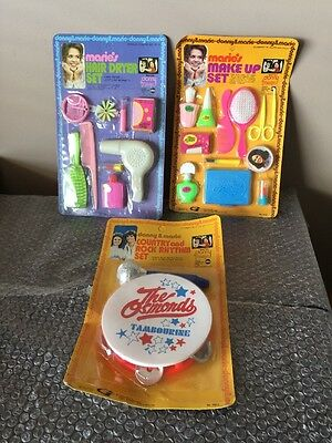 1976 Donny & Marie Country and Rock Rhythm/Hair Dryer And Make Up Set -LOT OF 3