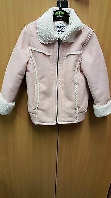 Mantaray Girls Coat pink suede effect fur linned