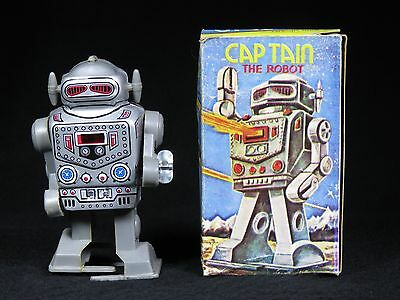 Vintage Captain Robot Mechanical Futuristic Space Tin Litho Sparking Windup Box