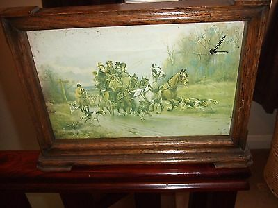 Vintage Wooden  Cased Smiths  Windup  Mantle Clock Hounds And Coach