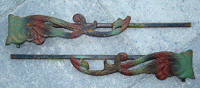 2 ANTIQUE Victorian CAST IRON Arts & Crafts Nouveau CURTAIN ROD Holder Brackets