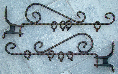 2 ANTIQUE Victorian WROUGHT IRON Arts Crafts Nouveau CURTAIN ROD Holder Brackets