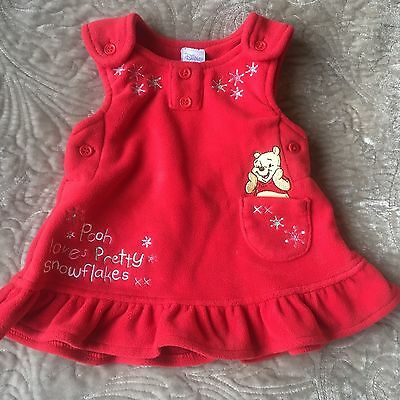 DISNEY BABY Winnie The Pooh Newborn Red Xmas Festive Snowflake Top Dress