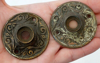 2 Antique 1800's VICTORIAN EASTLAKE AESTHETIC Brass Rosette DOOR KNOB ESCUTCHEON