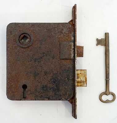 ANTIQUE Vintage 1800's VICTORIAN Salvage MORTISE Iron DOOR LOCK & SKELETON KEY