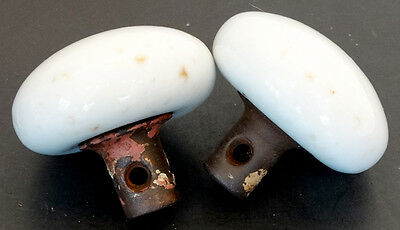 2 ANTIQUE Vintage VICTORIAN White MILK GLASS Porcelain DOOR KNOB HANDLE Salvage