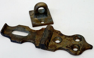 1800's Victorian ANTIQUE Vintage HEAVY BRASS Bronze SWIVEL LOCK HASP for PADLOCK