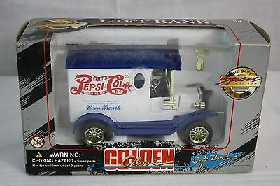 Pepsi Cola Coin Bank Golden Class with Key White/Blue Truck