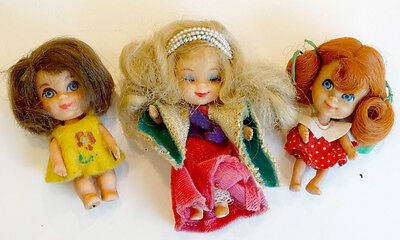Lot of 3 Vintage 1960's LIDDLE KIDDLES 1965 1966 MATTEL Doll Toy w/ CLOTHES
