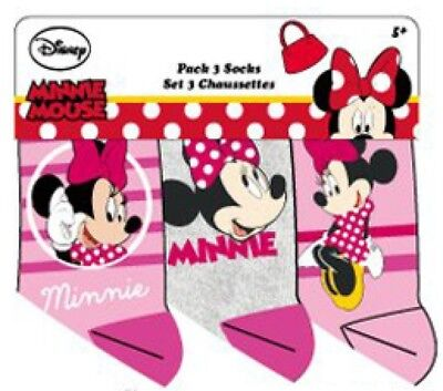 Disney Minnie Mouse Socken 3er Pack rosa-pink, grau-pink, rosa