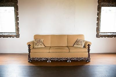 Antique 1920's Spanish Revival Colonial Style SOFA / Couch / Settee Carved Wood