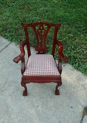 Rare Antique Child Size Chippendale Mahogany Chair