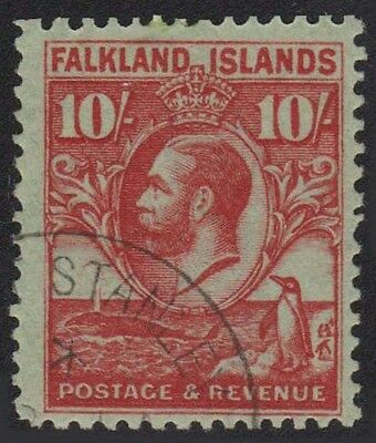 FALKLAND ISLANDS KGV 1929-37 Issue 10/- Scott 63 SG125 Whale & Penguins Used