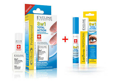 EVELINE  8in1 SET NAIL+EYELASH CONDITIONER -THERAPY TOTAL ACTION SALE-30%