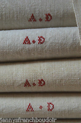 """A pair of huge antique French pure linen AD monogrammed towels 40""""x 34"""", unused"""