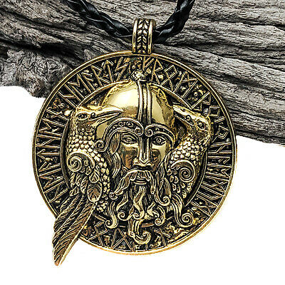 Antique Silver Viking Odin's Ravens Pendant Necklace