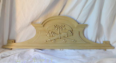 Antique French solid wooden pediment or fronton, time worn grey paint