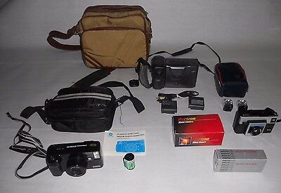 Vintage Lot Of Cameras & Bags - Sharp Camcorder Minolta Kodak Instamatic X-15