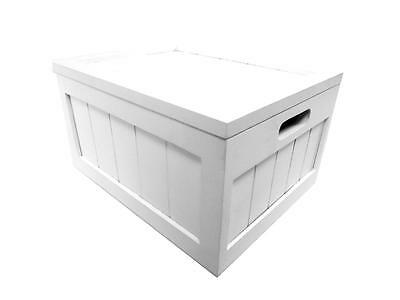 White Toy Box Childrens Storage Chest Unit Pine Wood Furniture Lid Hinges Handle