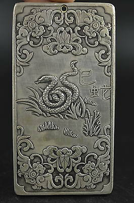 Decorated Miao Silver Carve Chinese 12 Zodiac Sinister Snake Rare Lucky Pendant